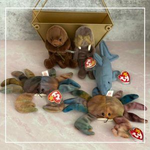 Ty Beanie Babies Retired Collectors Lot of 5 Stuffed Animals with tags